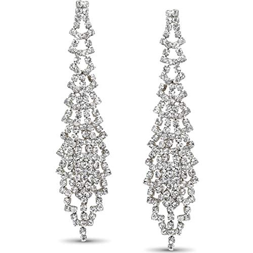 Humble Chic Simulated Diamond Earrings - Darling Waterfall Tassel CZ Statement Chandelier Studs, Silver-Tone Waterfall, - With Steel Earing Posts Surgical
