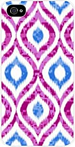 Violet and Blue Ikat Pattern - Case for the Apple Iphone 5-5s Universal- Hard White Plastic