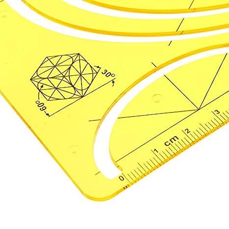 KUNSE Calidad Plástica Dibujo Profesional Herramientas Pie Plantilla Oval Polivalente Regla: Amazon.es: Hogar