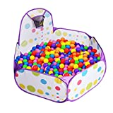 LPRTALK Kids Purple Ball Pit Ball Tent Toddler Ball Pit with Basketball Hoop and Zippered Storage Bag for Toddlers 4 Ft/120CM (Balls not Included)