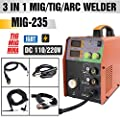 TOSENBA MIG/TIG/ARC Welder 3 in 1 Welding Machine Dual Voltage 110/220V DC 200A Stick Inverter IGBT Digital Display MIG235