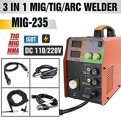 TOSENBA MIG/TIG/ARC Welder 3 in 1 Welding Machine Dual Voltage 110/220V DC 200A Stick Inverter IGBT Digital Display MIG235