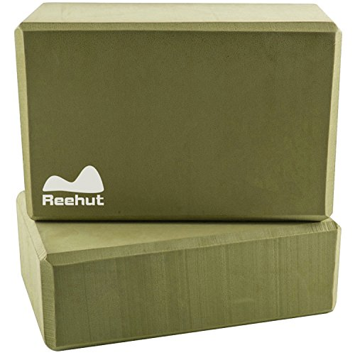"""Reehut (2-PC) Yoga Blocks, 9""""x6""""x4"""" - High Density EVA Foam Blocks to Support and Deepen Poses, Improve Strength and Aid Balance and Flexibility - Lightweight, Odor Resistant(Green)"""