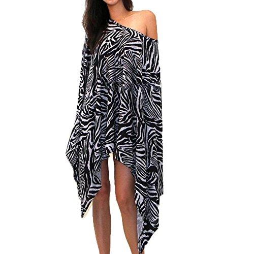 TINYHI Charm Women Zebra-stripe Loose Bat-wing Sleeve Cloak Zebra Stripe