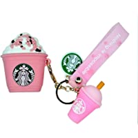 Frappuccino Coffee Iced Mocha Starbucks Soft Silicone Shockproof Case For Airpods With Strap & Keychain - Pink