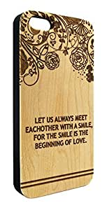 Genuine Maple Wood Organic Flower Design Smile Quote Snap-On Cover Hard Case for iPhone 5/5S
