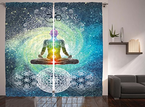 Ambesonne Hippie Curtains Bohemian Mandala Yoga Zen Yoga Decor by, Therapist Office Decor Living Room Bedroom Curtain 2 Panels Set, 108 X 84 Inches, Rainbow Colors