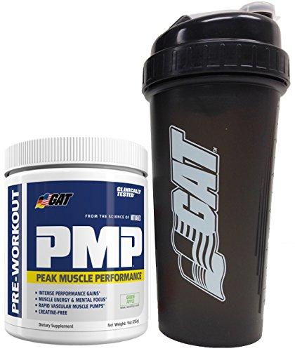GAT PMPTM Peak Muscle Performance Pre-Workout Powder, 9oz (255g) with BONUS GAT Shaker Bottle (Green Apple)