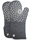 Heat Resistant Kitchen Oven Mitt With Non-Slip Silicone Printed, Set Of 2 Oven Gloves for BBQ cooking baking, Grilling, Barbecue,microwave, Machine Washable.(Gray)