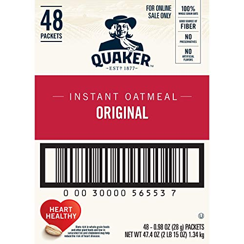 Quaker Instant Oatmeal, Original, 48 Count, 0.98 oz Packets (Packaging May Vary)