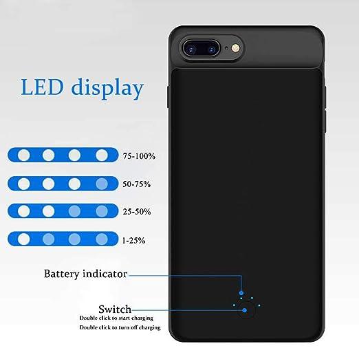 KOBWA - Funda con batería para iPhone 6 Plus/ 6s Plus/ 7 Plus/ 8 Plus, Ultra Delgada, 7000 mAh, Bateria Externa iphone 6/6S/7/8 Plus (5,5 Pulgadas), ...