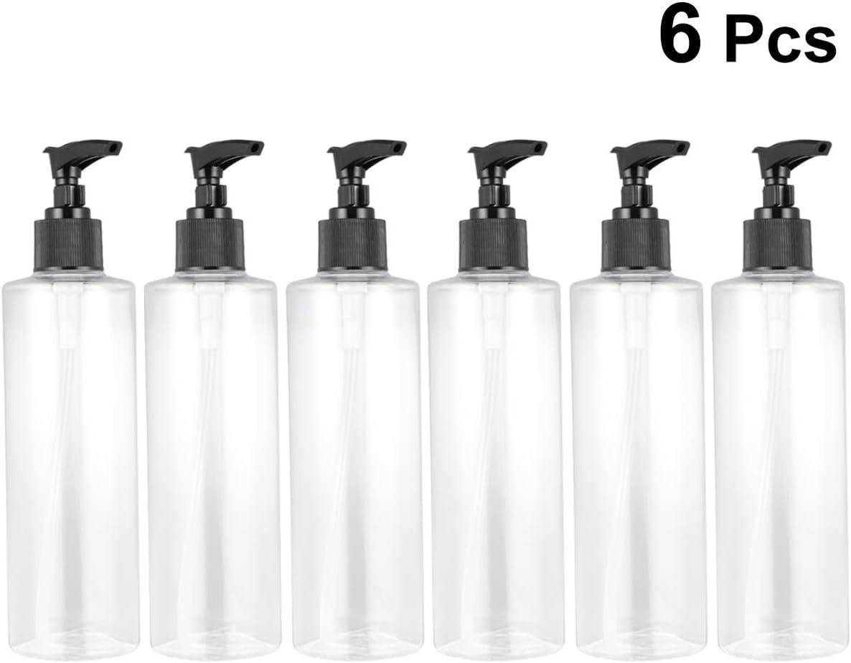 Mobestech 6 Piezas Dispensador de Jabón Transparente 250 Ml Botella de Bomba de Líquido de Plástico de Viaje Dispensador de Loción Lavable Recargable Detergente