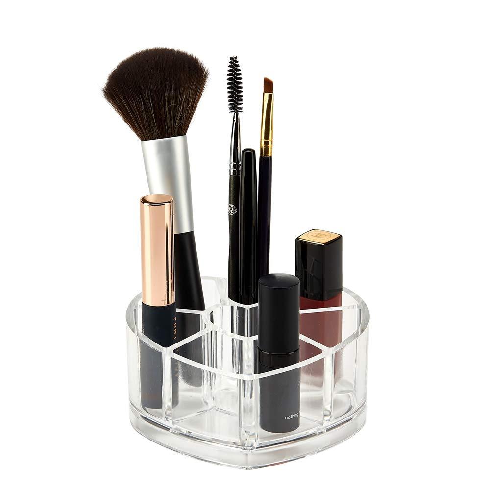 Makeup Organizer Arcylic Cosmetic Makeup Brush Holder Lipstick Organizer Holder 9 Sections Cosmetic Display Stand Clear Makeup Organizer Storage Box for Brushes, Lipsticks, Nail Polish Organizer Lyveef