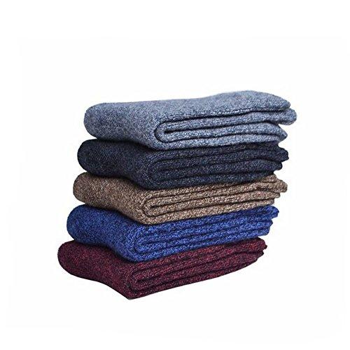 Men's 5-Pack Solid Color Cashmere Crew Socks