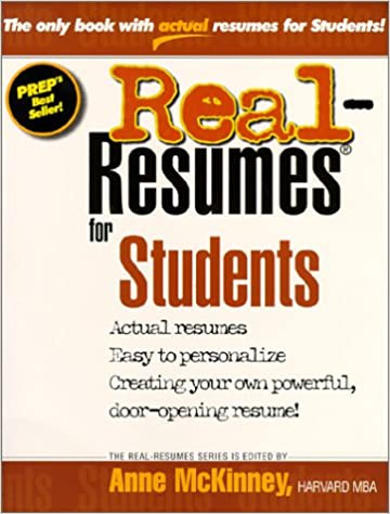 real resumes for students real resumes series anne mckinney 9781885288189 amazoncom books