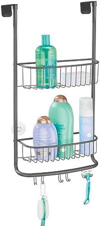 mDesign Estantería de ducha para colgar – Práctico colgador para ducha sin tornillos de metal inoxidable – 2 cestas metálicas para colgar con 6 ganchos para accesorios de ducha y toallas – gris: Amazon.es: Hogar