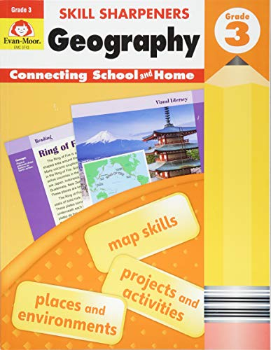 Evan-Moor Skill Sharpeners: Geography, Grade 3 Activity Book - Supplemental At-Home Resource Geography Skills Workbook