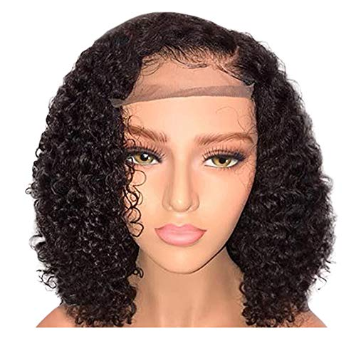 DDIGEjin Brazilian Virgin Water Wave Human Hair Lace Front Wigs 130% Density Human Hair Short Front Curly Hairstyle Synthetic Hair Wigs Women Natural Black with Adjustable Straps 14inch (Best Hairstyles For Black Women Over 50)