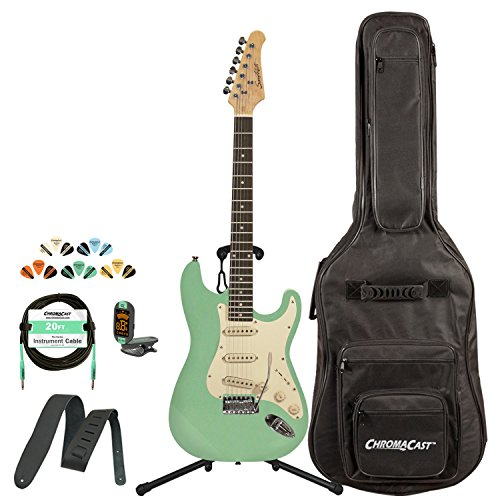 Sawtooth ST-ES60-SGRW-KIT-1 Classic ES 60 Alder Body Electric Guitar - Surf Green with Gig Bag, Cable, Picks, Strap, Tuner and Stand