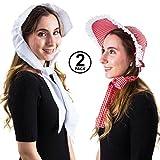 Tigerdoe Pilgrim Bonnets - 2 Pack - Prairie Hat - Amish Costume Accessory - Puritan Bonnet - Colonial Costume