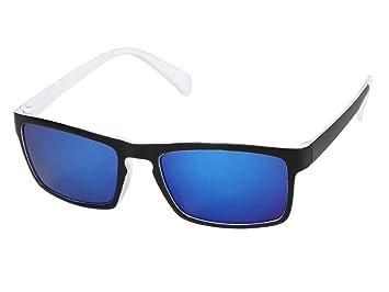 Lunettes de soleil miroir rectangulaire bicolore Ultra légères colori couleurs très sympa accessoire cool pas cher UV 400 belle paire de lunettes souple homme femme jeune adulte ados fête festival soi EmOm4GOu