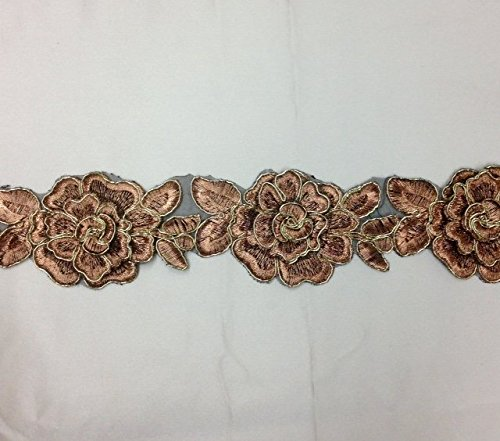 - Beautiful Copper with Gold Cord 3D flower lace trim Embroidered, metallic gold lace trim with 3D flower Selling Per Yard