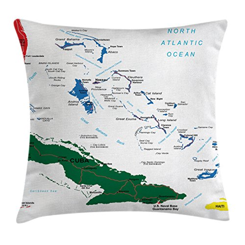 Wanderlust Throw Pillow Cushion Cover by Ambesonne, Bahamas Map Beach Cayman Islands Geography District Holiday Tourism, Decorative Square Accent Pillow Case, 16 X 16 Inches, Red White (Cayman Islands Wedding)