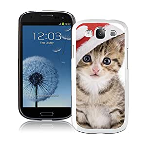 Custom-ized Naughty Red Hat Christmas Cat White TPU Samsung Galaxy S3 Case,Case For Samsung I9300