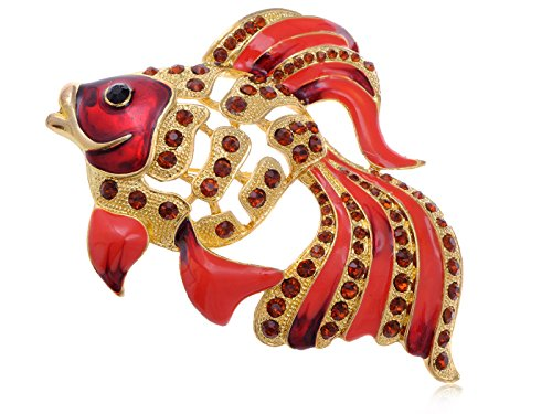 Rare Gorgeous Synthetic Ruby Epoxy Enamel Synthetic Ruby Crystal Rhinestone Golden Fish Pin - Crystal Fish Pin