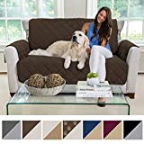 MIGHTY MONKEY Premium Reversible Loveseat Slipcover, Seat Width to 54' Furniture Protector, 2' Elastic Strap, Washable Slip Cover for Loveseats, Protects from Kids, Dogs (Love Seat: Chocolate/Taupe)