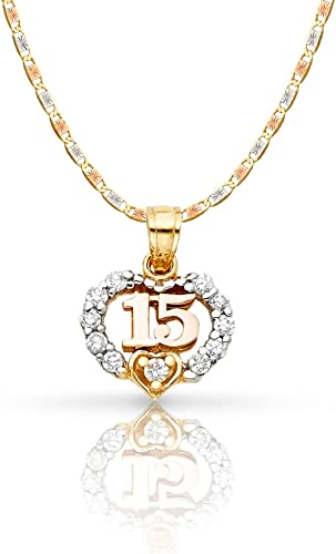 14K Yellow Gold Sweet 15 Quinceanera Key Charm Pendant For Necklace or Chain
