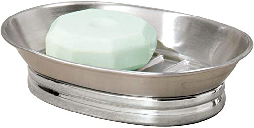 Satin Stainless Steel Soap Basket Dish Tray Holder Bathroom Shower Y
