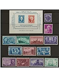 Complete set of US Commemorative Stamps issued in 1946 and 1947 Mint, Never-hinged Merchant Marines, Iowa Centennial, Tennessee, Thomas Edison, Utah, USS Frigate Constitution, Everglades, Doctors, and more