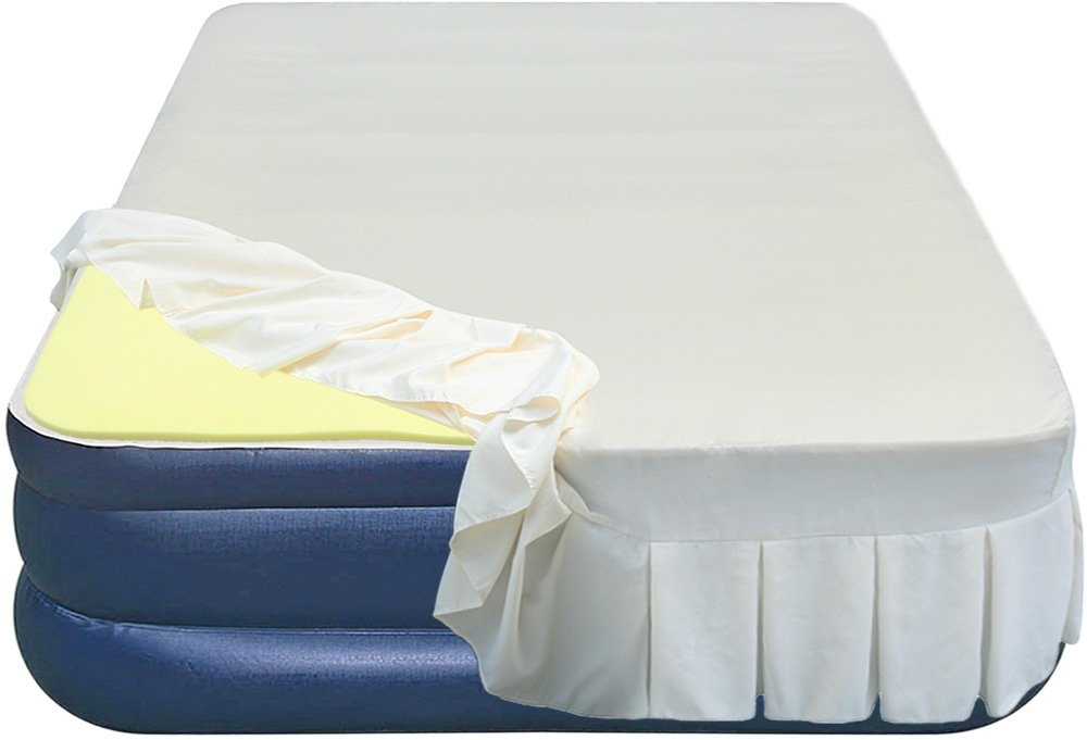 Airtek Full Flocked top air mattress PLUS 1'' Memory Foam Topper and Perfectly Fitted Skirted Sheet 2ABF04005-MC