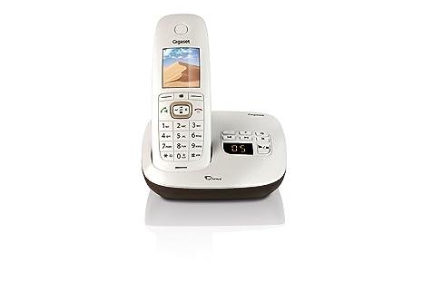 Gigaset CL540A - Teléfono inalámbrico con contestador automático, blanco y marrón