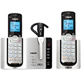 VTech DECT 6.0 Dual Handset Cordless Phones with Headset, ITAD, Bluetooth, Caller ID, and Full Duplex Handset Speakerphones Silver/Black