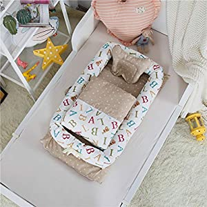 Abreeze Baby Bassinet for Bed – English Alphabet Baby Lounger Including Comforter- Breathable & Hypoallergenic Co-Sleeping Baby Bed – 100% Cotton Portable Crib for Bedroom/Travel 0-24 Months