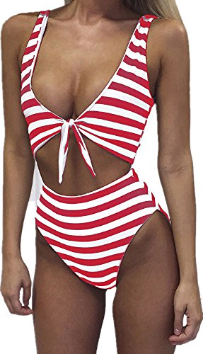 - Farktop Womens Swimsuits Sexy Thong Bandeau Bikini High Waisted One Piece Bathing Suit Monokini, X-Large, Red