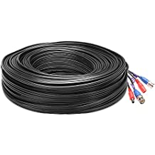 Loocam 200ft HD-TVI BNC Video Power Mini RG59 Cable For CCTV Camera DVR Security System BNC Video and DC Power Extension Cable