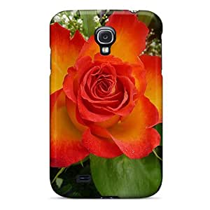 First-class Case Cover For Galaxy S4 Dual Protection Cover Fiery Rose Bloom