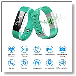 Fitness Tracker HR, Letscom Activity Tracker Watch with Heart Rate Monitor, IP67 Waterproof Smart Band, Step Counter Pedometer Watch for Kids Women and Men (Purple) (Green)