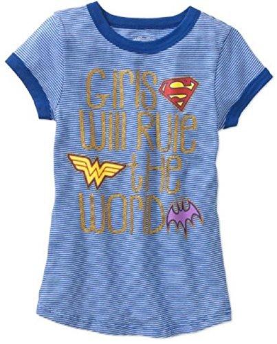 DC Superhero Girls Blue Stripe Ringer Tee Shirt SuperGirl Wonder Woman and Batgirl Logos Girls Will Rule The World Glitter Words (XS (Stripes Ringer T-shirt)