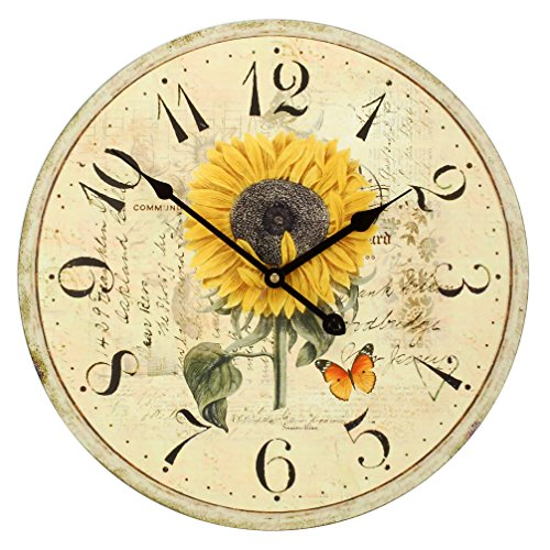 Large Decorative Wall Clock , Vintage  - sunflower Wall Clocks