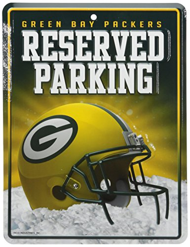Bay Tin Green Nfl Packers (Rico NFL Green Bay Packers 8-Inch by 11-Inch Metal Parking Sign Décor)