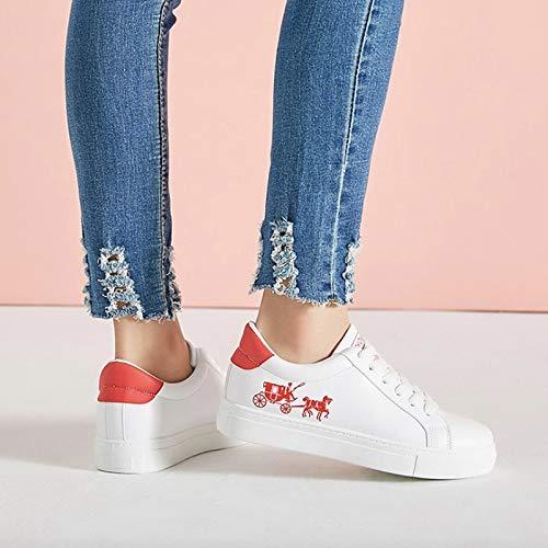 Up Mujer Sneakers Calzado Casual Rojo XINGMU Moda Otoño Lace De Flats Transpirable Las Mujeres Mujer Zapatos Primavera OxEqZ6x