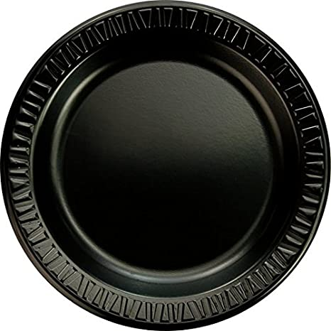 "SOLO 9PBQR Laminated Foam Plate, 9"" Diameter, Black (Case of 500)"
