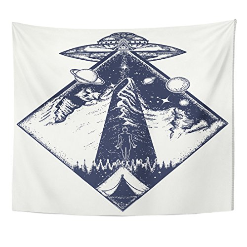 VaryHome Tapestry Ufo Tattoo and Invasion of Aliens Kidnap Human Mystical Symbol Paranormal Phenomena First Contact Home Decor Wall Hanging for Living Room Bedroom Dorm 50x60 Inches by VaryHome