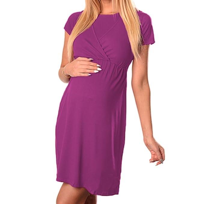 junkai Vestido de maternidad redondo cuello acanalado vestidos de embarazo, mujeres vestido de lactancia materna doble capa de lactancia materna vestidos ...