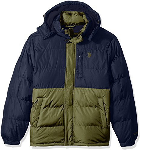 U.S. Polo Assn. Men's Congressional Cup Short Bubble Jacket, Army Green, L by U.S. Polo Assn.