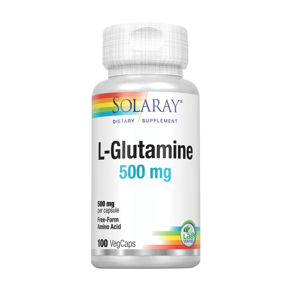 Solaray L-Glutamine 500mg | Healthy Muscle Recovery, Gastrointestinal & Immune System Support | Non-GMO | Vegan | Lab Verified | 100 VegCaps